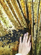 New arrival 2017 8x8FT Reversible Sequin Backdrop Curtain GOLD BLACK WHITE Mermaid Fish Scale Sequin Fabric