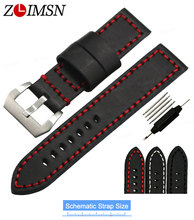 ZLIMSN 20 22 24mm Genuine Leather Watchbands Steel Brushed Finished Pin Buckle Black Longer Bands Straps Stainless Steel Clasp
