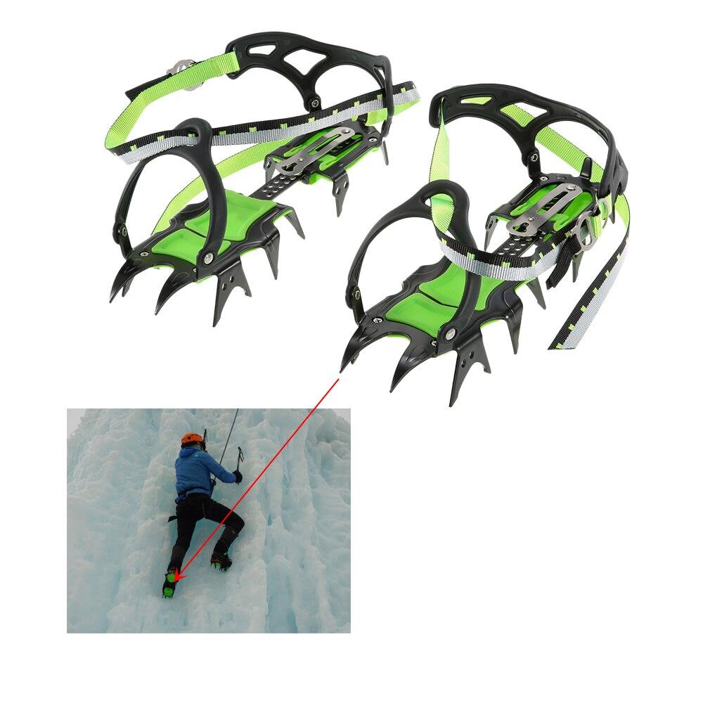 Crampons de glace de randonnée professionnels BRS quatorze dents couvre-chaussures de neige d'hiver pinces à glace en acier au manganèse