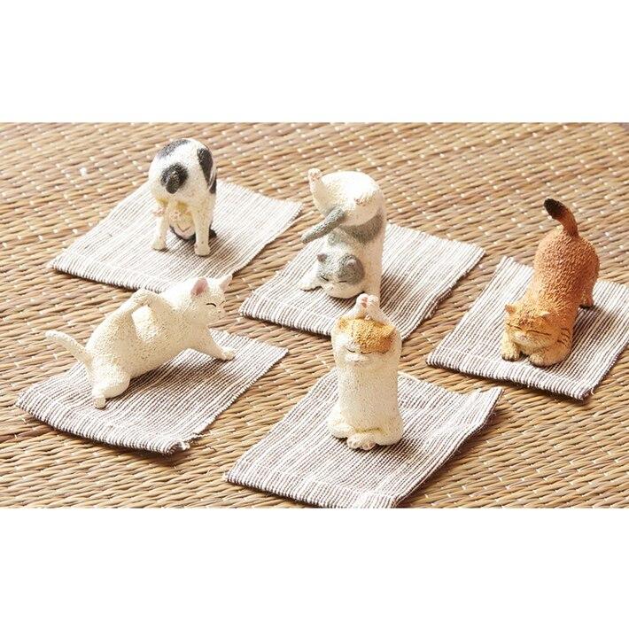 Figurine en PVC ornements de poupée yoga chats 5 pièces/ensemble