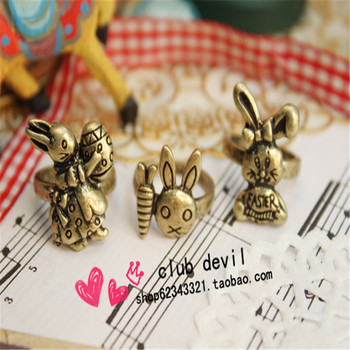 2018 jewelry wholesale Antique Bronze Realistic Rabbit Ring Role of Potter 17mm Size Cute Animal Pet Jewelry Gift For Momen man image