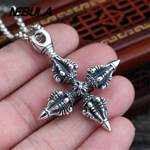 925 Sterling Silver Vintage King Kong pestle Cross Pendant Necklace Jewelry For Men Wonmen Punk Faith
