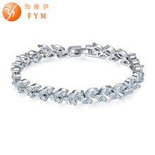 FYM Brand New Luxury Silver Color Plant Bracelets & Bangles with Clear AAA Zircon Crystal Femme Bracelets for Women Wedding Part fym brand new luxury silver color plant bracelets