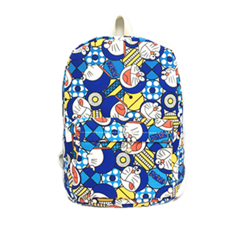 The new cartoon around the Doraemon backpack fashion men and women canvas leisure backpack