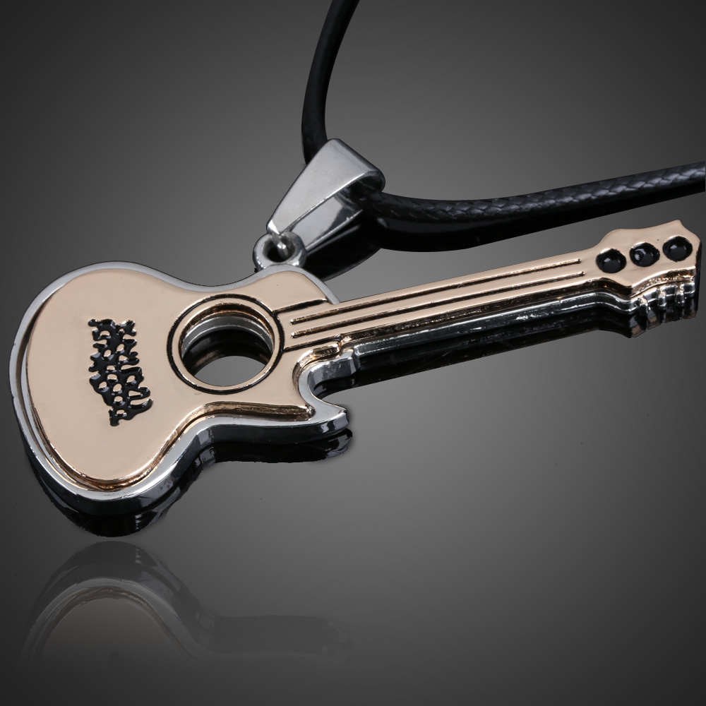 2019 New Lovely <font><b>Guitar</b></font> Pendant <font><b>Necklace</b></font> Boy Girl Jewelry <font><b>Unisex</b></font> <font><b>Titanium</b></font> <font><b>Steel</b></font> Punk Style image