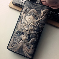 Unique Genuine Leather Wallets Carving Domineering Dragon Purses Men Long Clutch Vegetable Tanned Leather Wallet Card Holder