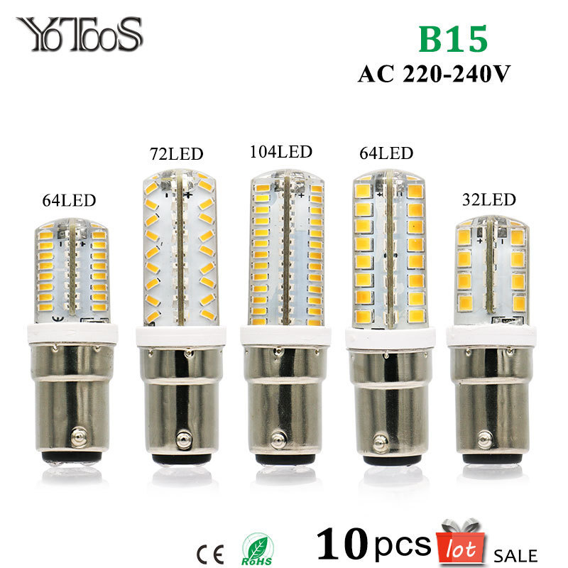 10pcs Lot B15 BA15D LED Lamp Bulb Light 220v 230v 240v Cool Warm White 3014 2835 SMD LED Chips Silicone Lamps For Home Lighting