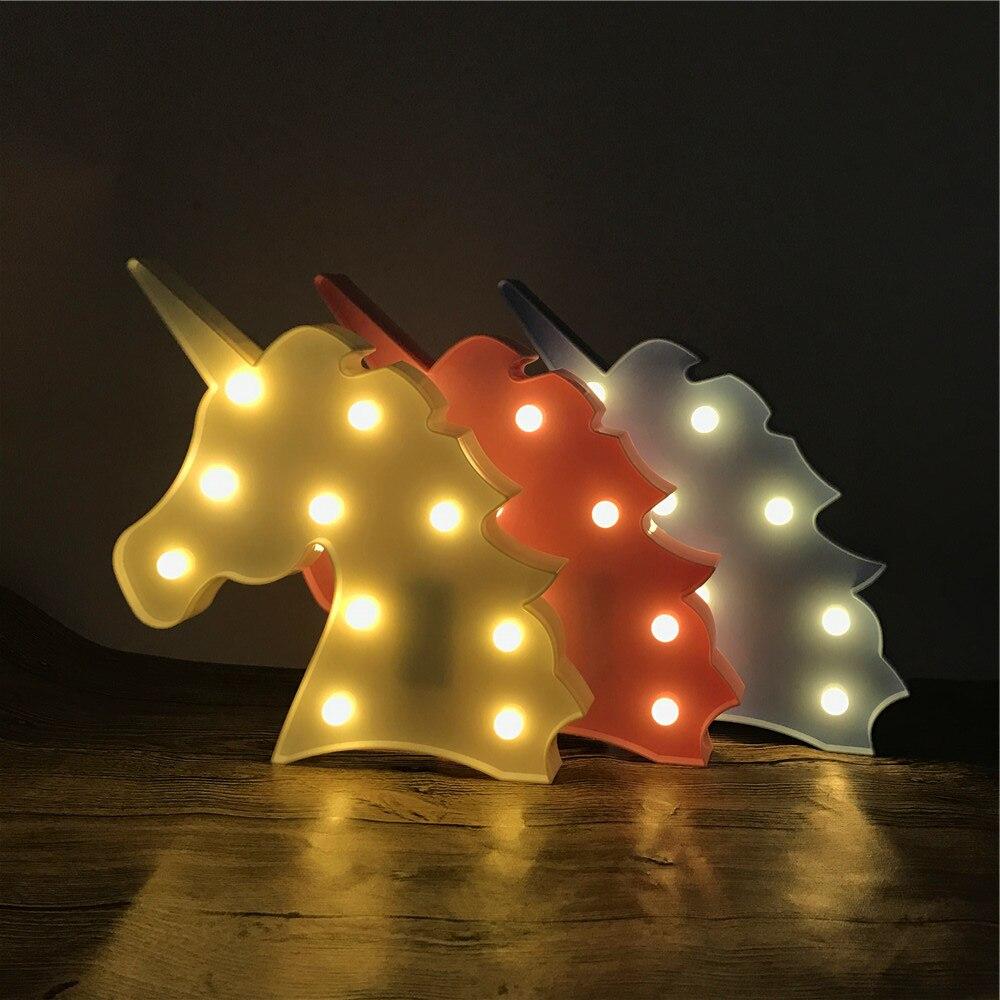 Novelty 3D LED Cute Unicorn Animal Night Light Warm White Shine - Night Lights - Photo 6