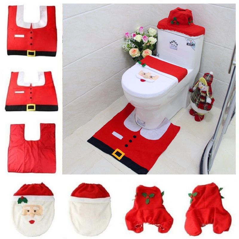High Quality Christmas Toilet Cover 3pc/set Santa Toilet Seat Cover Bathroom Rug Carpet  Tank Cover New