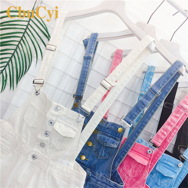 CbuCyi Fashion Denim Overalls for Women Jumpsuit Female Denim Rompers Womens Playsuit Salopette Straps Overalls Shorts Rompers 6