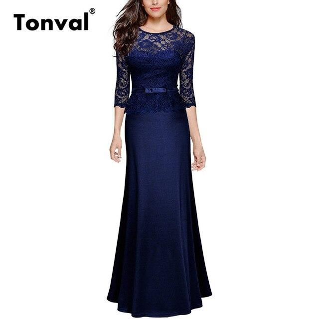 Tonval Elegant Ruffle Lace Maxi Dress Women Sexy See Through Party Dresses  Floor Length Autumn Long Dress 13cb90747f1f