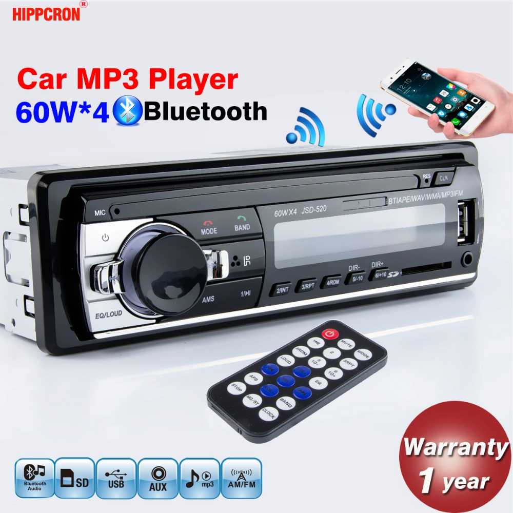 Hippcron Car Radio Stereo MP3 Player Digital Bluetooth 60Wx4 FM Audio Music USB / SD