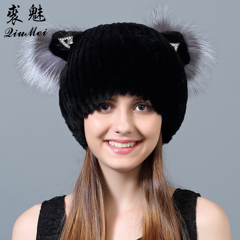 Winter Rex Rabbit fur Cute Cat Ears Cap With Sequins Warm Winter For Women Real Natural Rabbit Fur Vertical Weaving Winter Hat