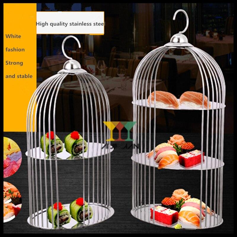 1 pièces Européenne acier inoxydable une assiette de Dessert Oiseau Cage Titulaire Dessert assiette à fruits Couverts sac à dos de taille moyenne Pâtisserie Stand De Fruits.