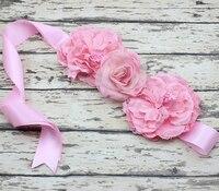 Colorful Baby Girl Flower Sash Belt Maternity Sash Photography Props Wedding Sash 1PC