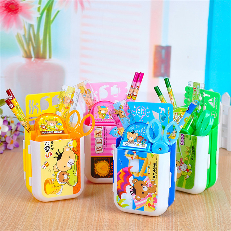 Coloffice  Kawaii Children Stationery Sets Kids Penholders Scissors Pencil Sharpener Ruler Sets Student Prize Gift School Supply