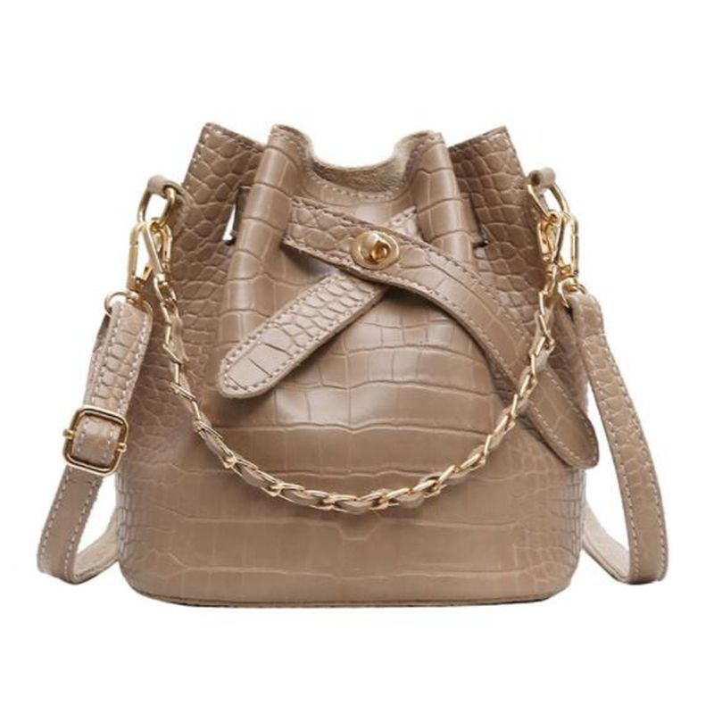 Women Handbag Luxury Designer Shoulder Bag For Female Big Chain Bucket Bag PU Leather Versatile Lady Totes  X378
