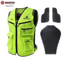 SCOYCO 21 High Visibility Jackets Reflective Clothing Touring Motorcycle MBX/MTB/ATV Riding Vest Fluorescent Reflective Vest