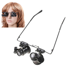 Wearing Type 20X Magnifier,Dual Eye Lens Loupe,Jeweler Magnifying Glass Optical Lens Tool with 2 LED Light for Electronic Repair 2 led light headband magnifying glass eye repair magnifier with lamp 1 0 1 5 2 0 2 5 3 5x 5pc glasses loupe optical lens