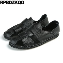 Waterproof Slip On Large Size Water Soft Strap Black Men Sandals Leather  Summer 45 Shoes Beach White Closed Toe Fashion Brown 61338856deb8