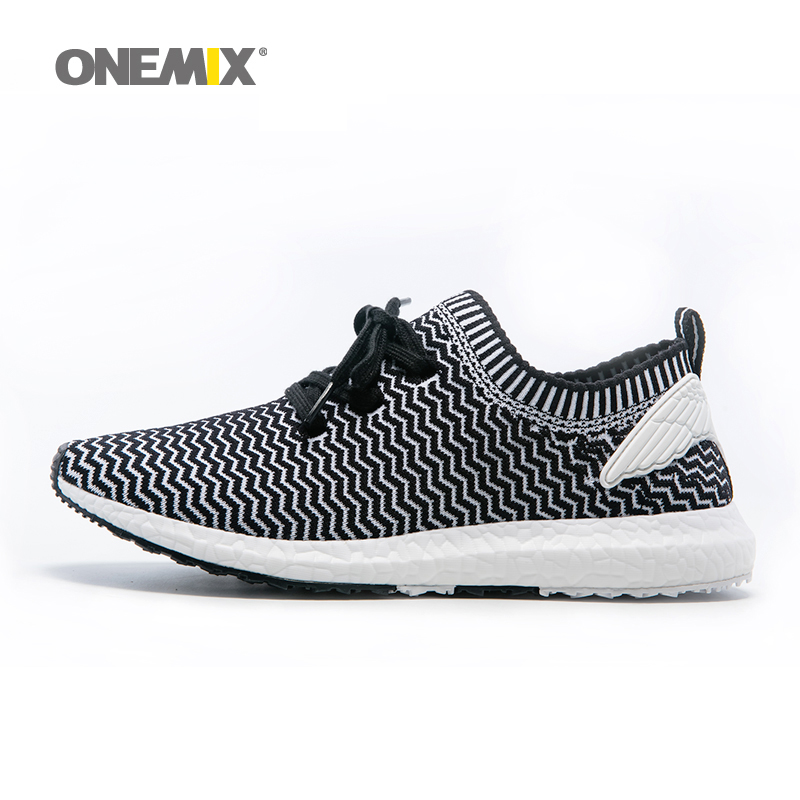 ФОТО Onemix Cheap Mens Running Shoes Athletic Trainers Black Zapatillas Sports Shoe Outdoor Walking Sneakers. Size 36-45