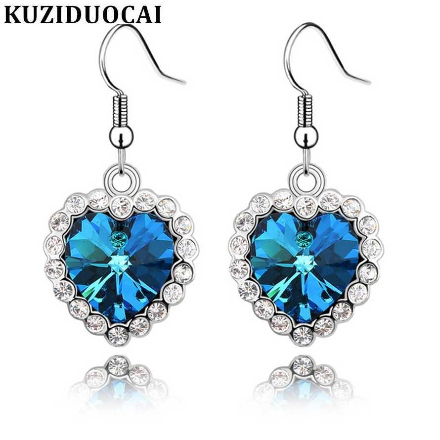 Kuziduoci New Fashion Jewelry Classical Love Story Crystal Rhinestone Titanic Ocean Heart Drop Earrings For Women Brincos E-58