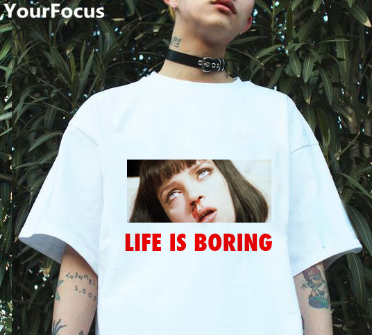 d76fe565d Harajuku pulp Fiction ins hot style life is boring letter printed Nosebleeds  women pattern loose short sleeve tshirts YQ 308-in T-Shirts from Women's ...