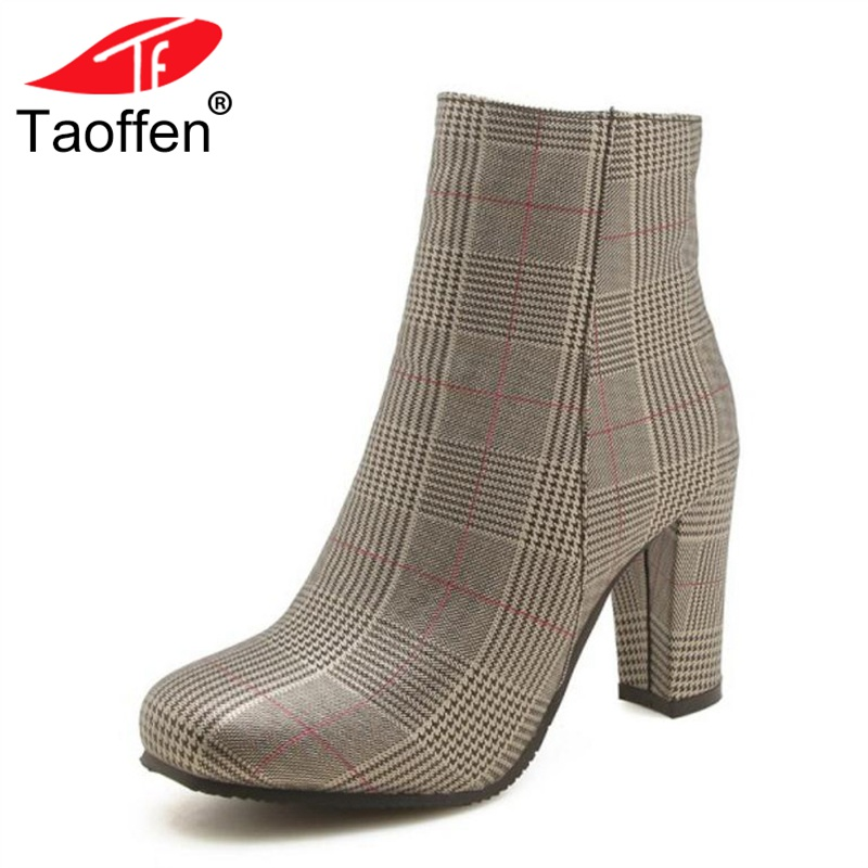 TAOFFEN Size 32-45 Women High Heels Boots Fur Winter Warm Ladies Shoes Plaid Thick Heels Ankle Boots Classic Short Boots warm winter fur leather women ankle boots high heels sexy comfortable shoes ladies short boots cutout shoes big size