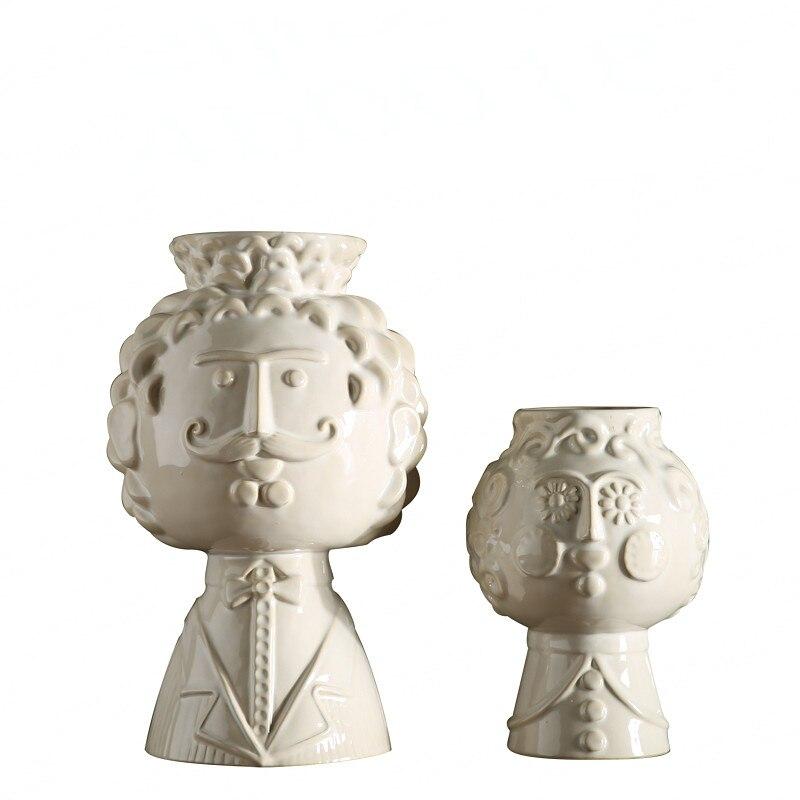Opluchting Keramische Vaas Creative Smile Baard Man Gezicht Vaas Pot Home Decor Art Bloempotten Plantenbakken R985