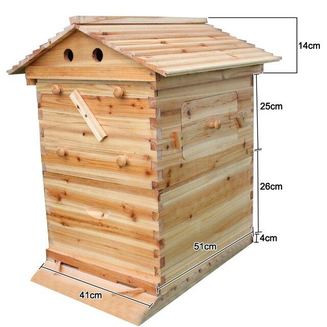 صندوق خلية النحل الخشبية مع 7 إطارات خلية النحل أدوات تربية النحل العسل الذاتي تتدفق خلية النحل البيت لوازم معدات تربية النحل 6