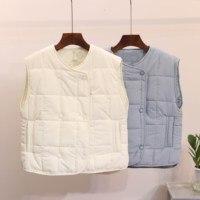 Autumn Winter Feather Cotton Vest Women Large Size Vest Slim Horse Folder Jackets Coat Female Outewear