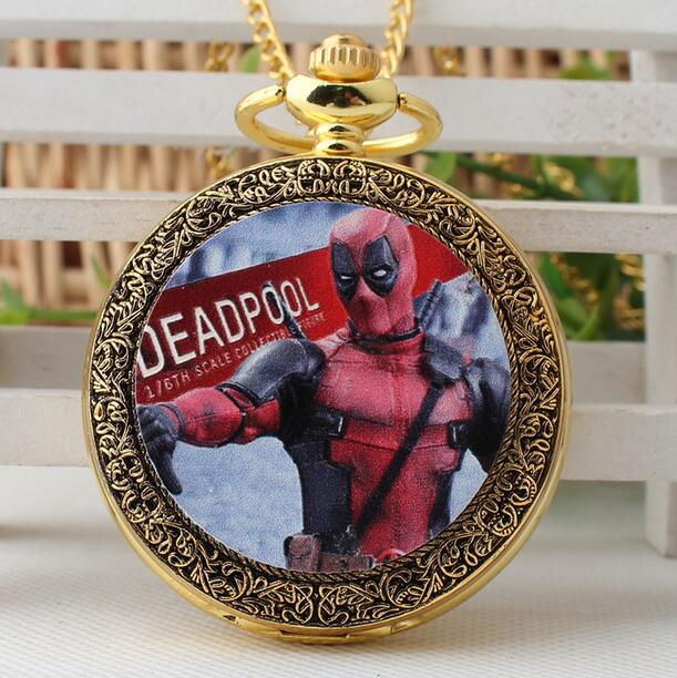 Deadpool Ultraman Animation Cartoon Enamel Pattern Golden Antique Modern Hours Necklace Pocket Watches Gift