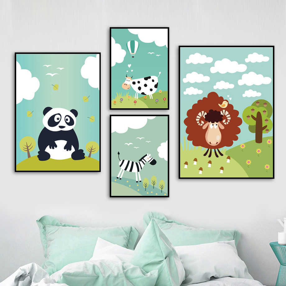 Zebra Panda Cow Sheep Wall Art Canvas Painting Nordic Posters And Prints  Animal Wall Pictures Kids Baby Room Nursery Home Decor