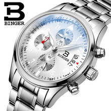 537448e49f9 Suíça Binger Relógios De Pulso Homens Marca de Luxo Mergulho de Lazer  Relógios Esporte Militar Genuínos
