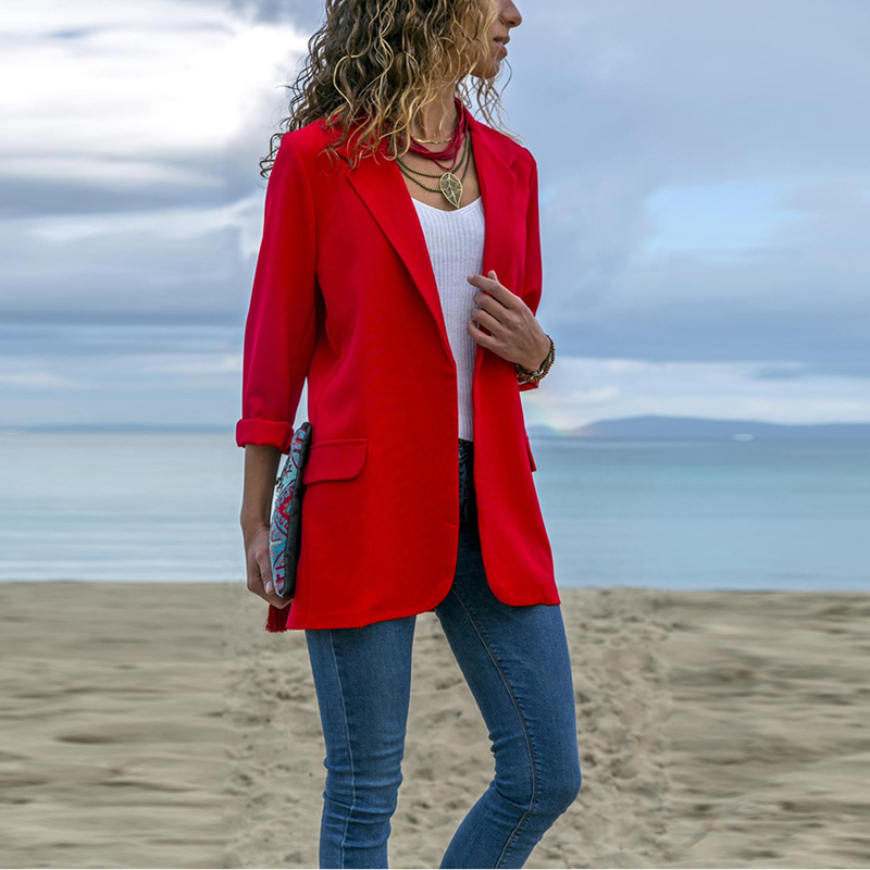 Blazer Vornehm Bigsweety Neue Elegante Herbst Frauen Blazer Arbeiten Büro Dame Anzug Slim Schwarz Keine Taste Business Blazer Mantel Frauen Anzug Jacke