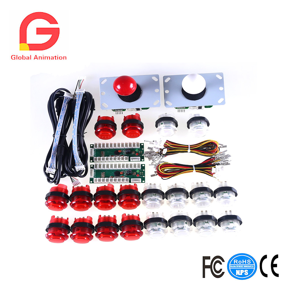 2 Player LED Arcade Game DIY Parts PC to Joystick For USB MAME Cabinet & Raspberry Pi RetroPie DIY Projects Red + White Kit arcade mame diy kit for 2 players pc ps 3 2 in 1 to joystck led button with icons interface usb 2 player mame interface