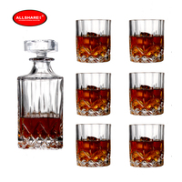 Free shipping hot sale high quality promotional lead free crystal hanmade blown whisky set whisky bottle whisky glass 1+6