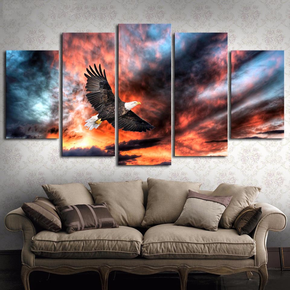 Wall Art Modular Poster Home Decor Modern Canvas 5 Panel Eagle In