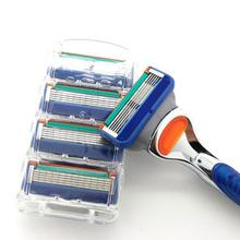 4 sztuk partia profesjonalne golenie 5 warstw żyletki kompatybilny dla Gillettee Fusione dla mężczyzn pielęgnacja twarzy lub Mache 3 tanie tanio Razor blade GF 3-5 Stainless steel 5layers razor blade 4pcs pack blue Shaving Hair Removal Men Shaving Blades