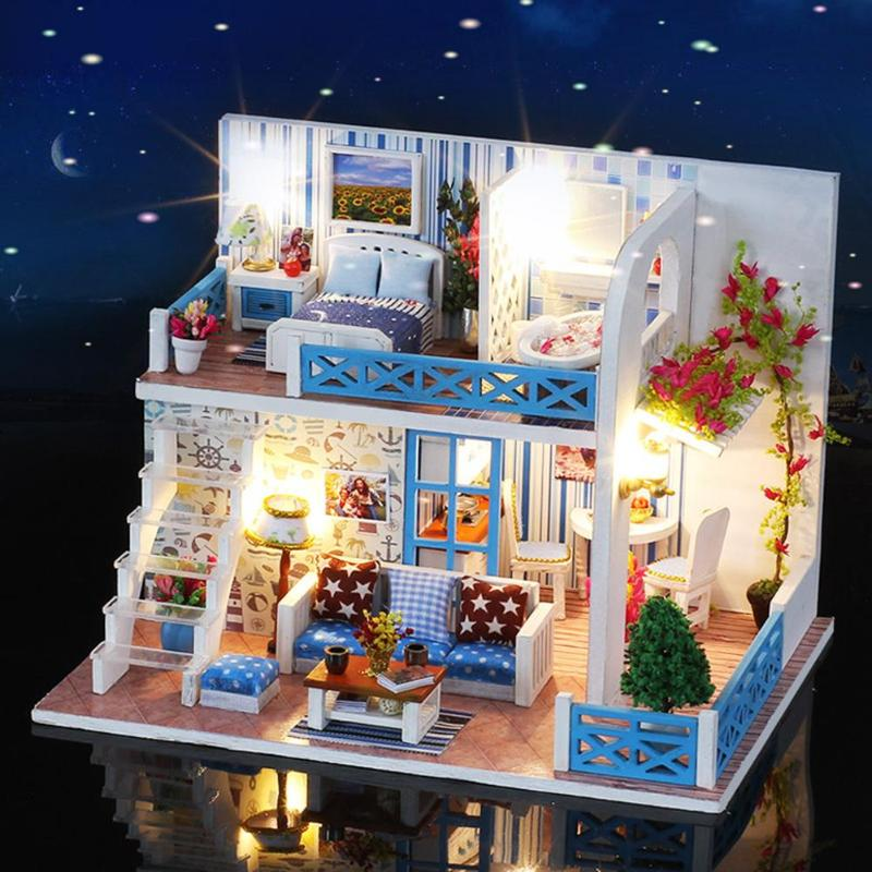 Miniature Doll House DIY Small Sea View House Wooden Hut Villa Assembly Model Helen Coast Gift Furniture Kids Birthday Xmas Gift 70pcs diy wooden theatre mechanical transmission model assembly puzzle toy for kids xmas gift