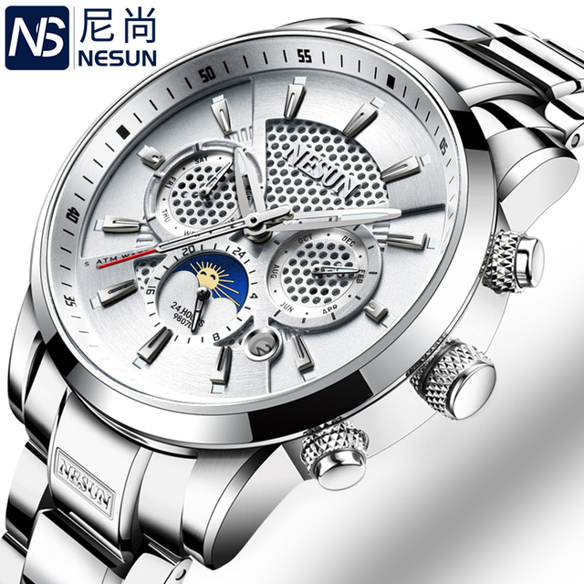 NESUN Luxury Brand Watch Multifunctional Display Automatic Mechanical