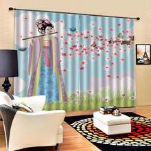 Customized size Luxury Blackout 3D Window Curtains For Living Room chinese girl curtains for bedroom Blackout curtain(China)