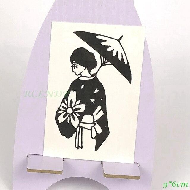 c4889f37d Waterproof Temporary Tattoo Japan Geisha with umbrella Ukiyo-e vintage old  school tatto flash tatoo fake for girl women