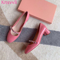 Knsvvli New Stars Crystal Chunky Heels Shoes Women Round Toe Patent leather Slip On Red Pink Sweet Princess Party Shoes Woman