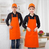 Polyester Halter Style Aprons Kitchen Restaurant Apron Pinafore Bib Cooking Aprons With Pocket Kitchen Cleaning Accessories
