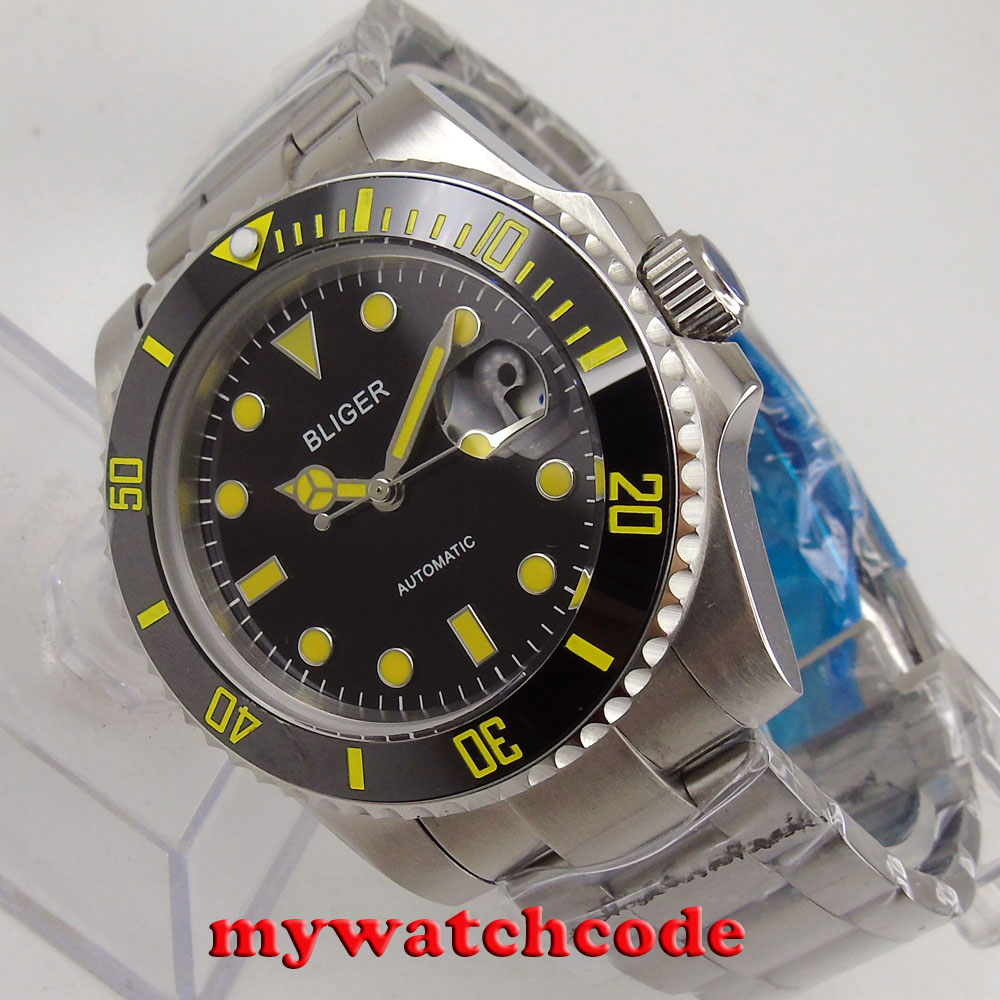 цена 40mm bliger black dial yellow marks date sapphire crystal automatic mens watch онлайн в 2017 году