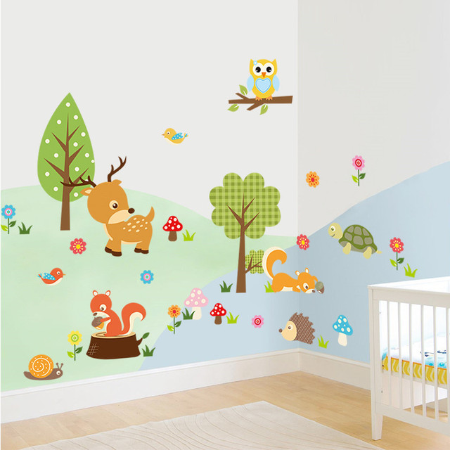 Cartoom Forest Animals Wall Art Stickers Owls Deer Flower Tree Decals Safari Adventure Baby
