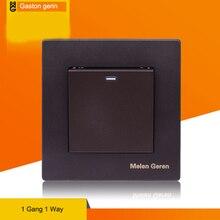 Universal Wall Light Switch 1 Gang 2 Way 16A AC 110V 220V 240V Black Plastic Panel Home High Quality Copper socket