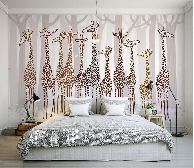 Carta Da Parati Di Design.Personalizzato 3d Carta Da Parati Nostalgico Giraffa Murale Bagno Di