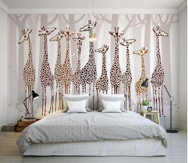 Custom 3d Wallpaper Nostalgic Giraffe Mural Design Bathroom Customized For Walls